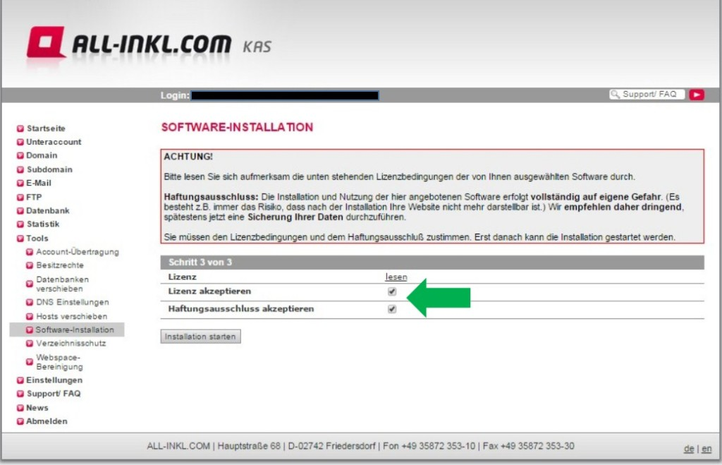 Wordpress Installation ALL-INKL.com 5