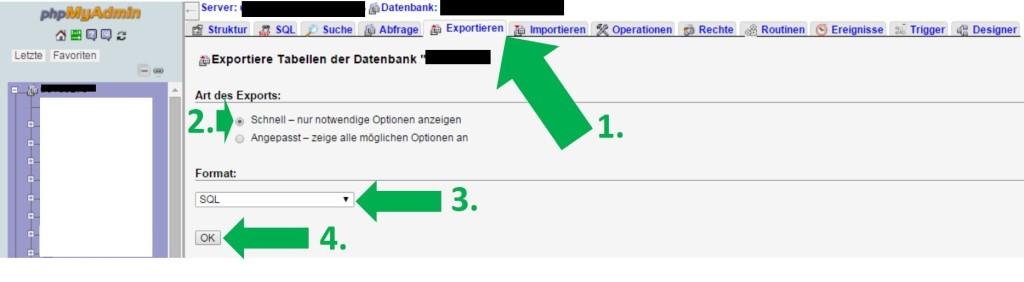 Datenbank Backup über phpMyAdmin, Nischenseite, Website