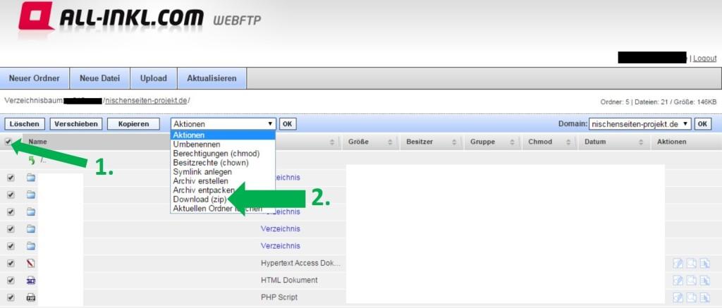 WordPress Backup, sichern der WordPress Dateien und Ordner, Nischenseite