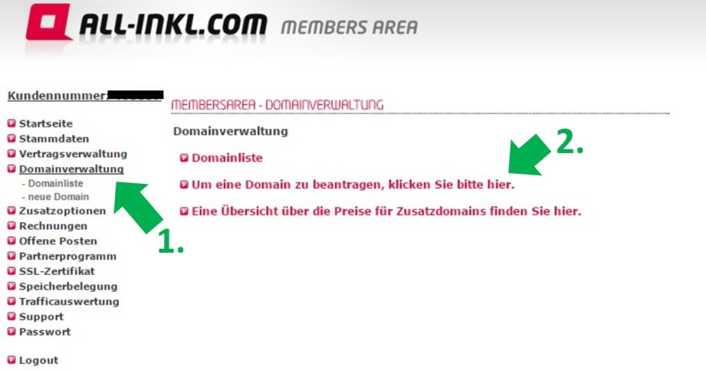 Domain bei All-inkl anlegen